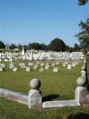 The confederate soldiers section of Natchez City Cemetery
