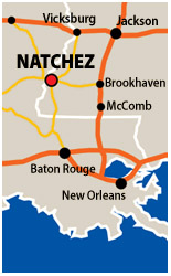 Map of the Natchez area