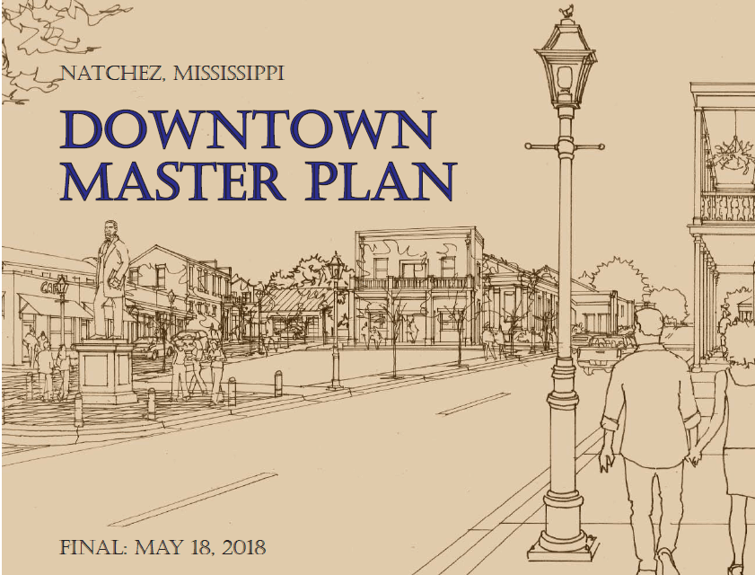 The cover of the Downtown Natchez Revitalization Plan